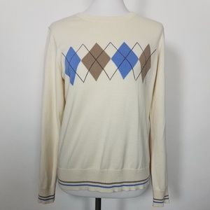 IZOD Ivory Cotton Argyle Crewneck Sweater